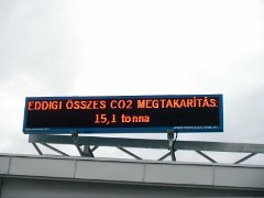PannonSign display, 256 x 40 pixels, red LED, data input from the solar cell system